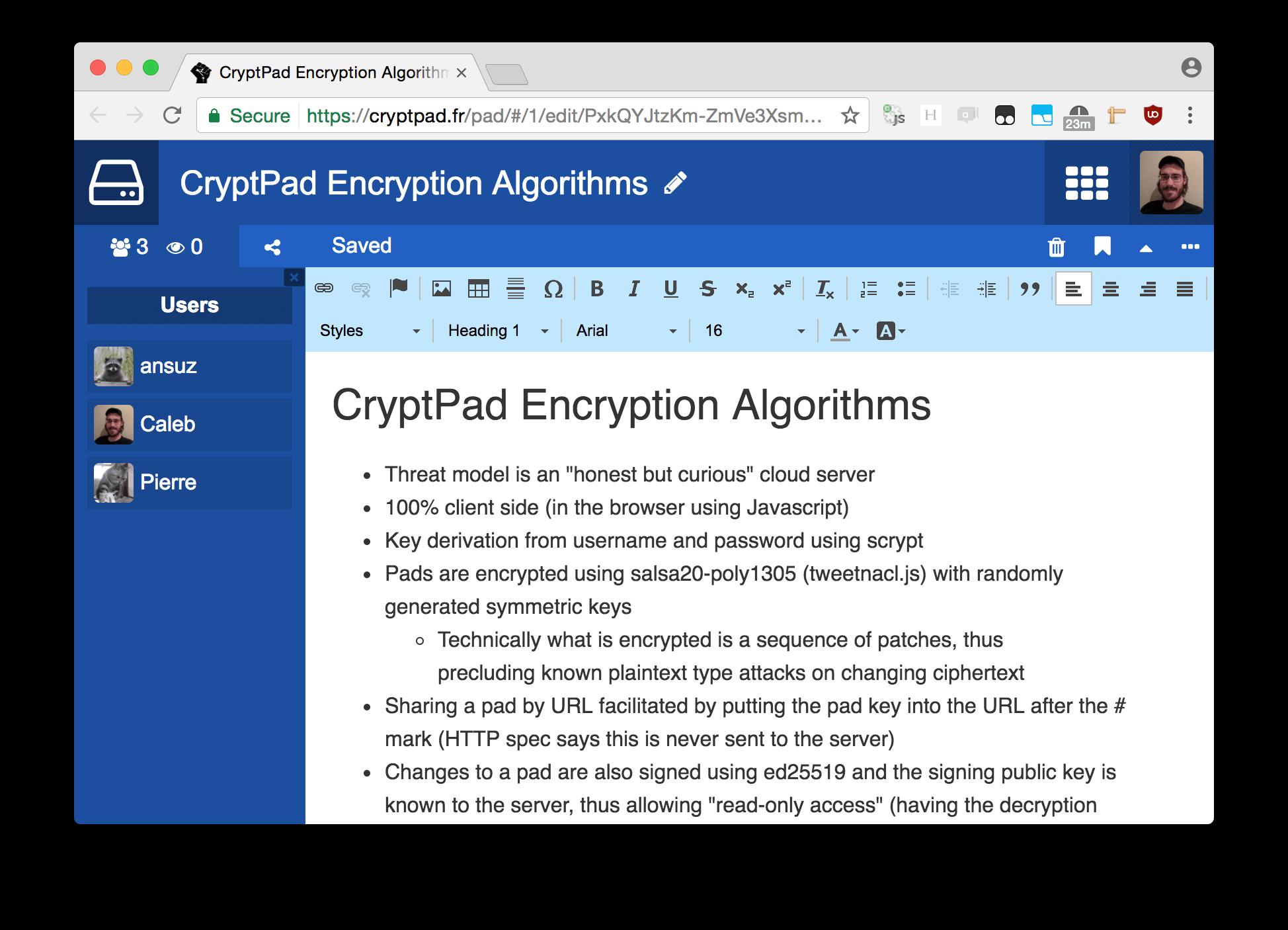 Capture d'écran CryptPad