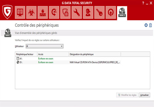Capture d'écran G DATA TotalProtection