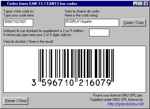 Capture d'écran Code barre EAN13