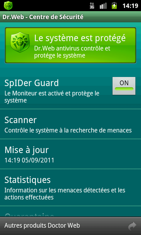 Capture d'écran Dr.Web pour Android Light 7.0