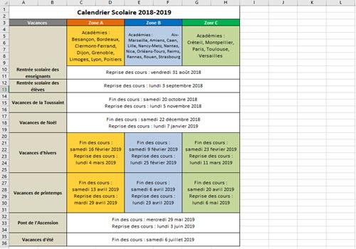 Capture d'écran Calendrier Vacances Scolaires 2018-2019