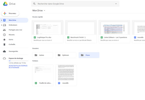 Capture d'écran Google Drive