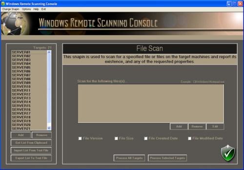 Capture d'écran Windows Remote Scanning Console