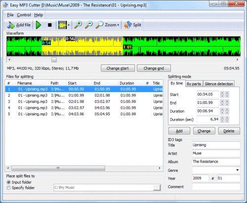 Capture d'écran Easy MP3 Cutter