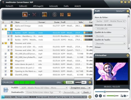 Capture d'écran mediAvatar Convertisseur 3GP