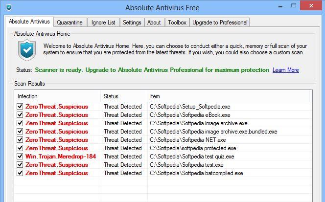 Capture d'écran Absolute Antivirus Free