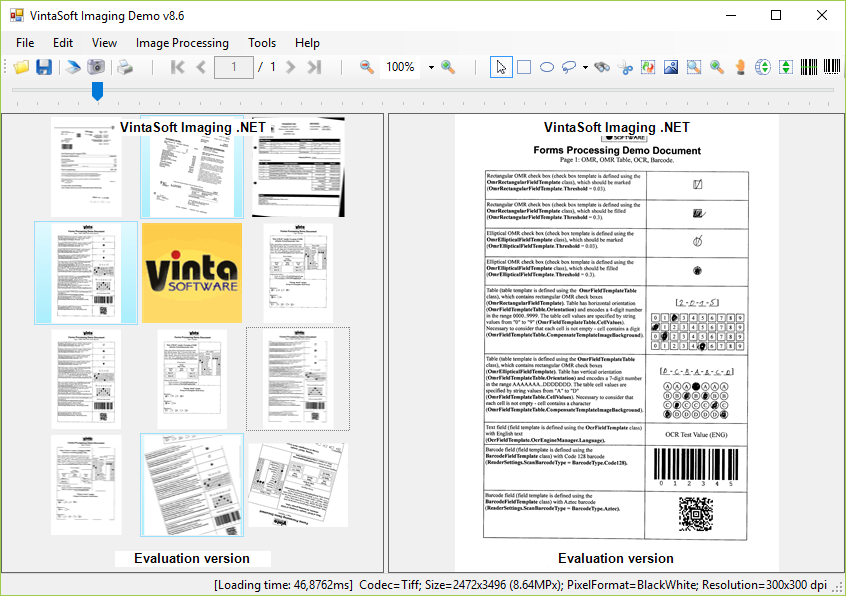Capture d'écran VintaSoftImaging.NET SDK