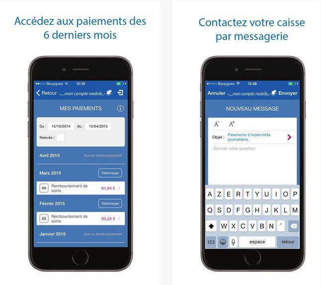 Capture d'écran Ameli, L'Assurance Maladie iOS