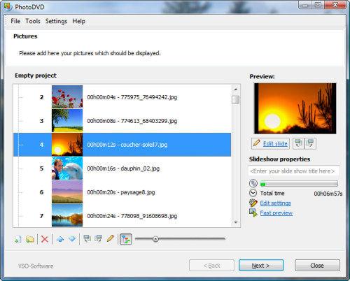 Capture d'écran PhotoDVD