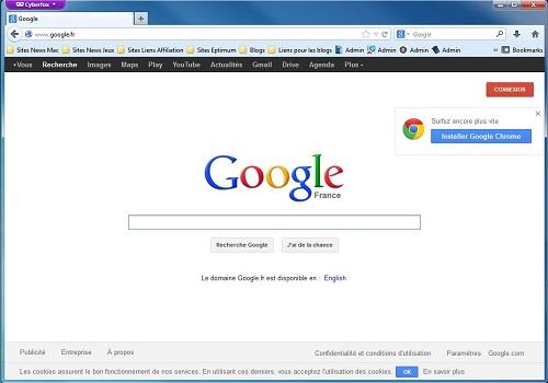 Capture d'écran CyberFox