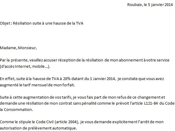 Capture d'écran lettre résiliation hausse TVA 2014