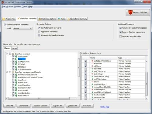 Capture d'écran secureSWF