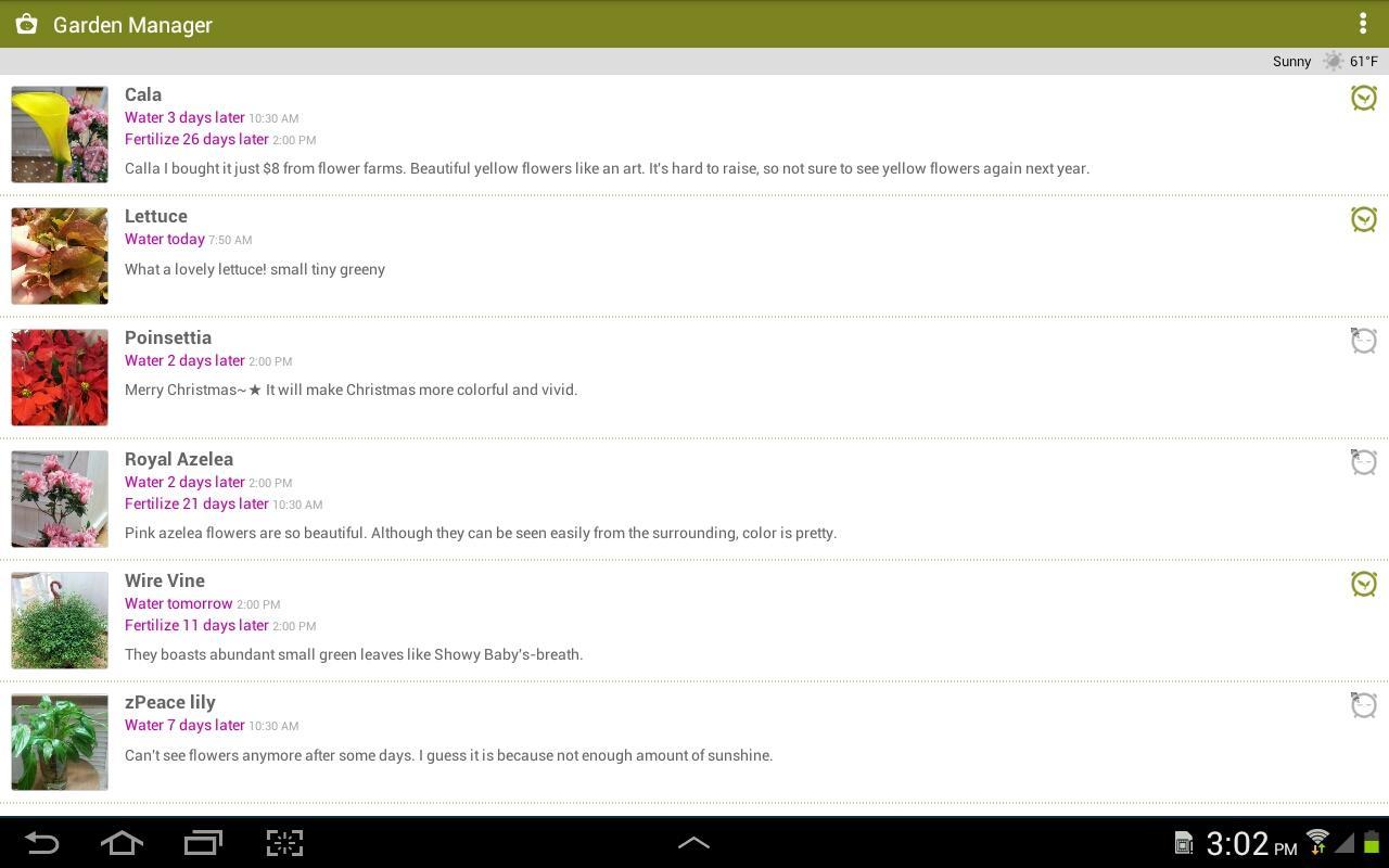 Capture d'écran Gestionnaire de Jardin Android