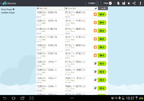 Capture d'écran Skyscanner Android
