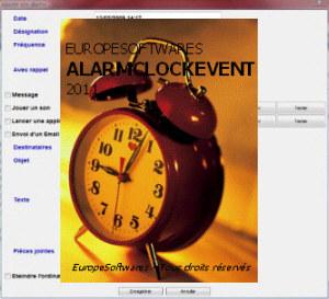 Capture d'écran AlarmClockEvent Linux