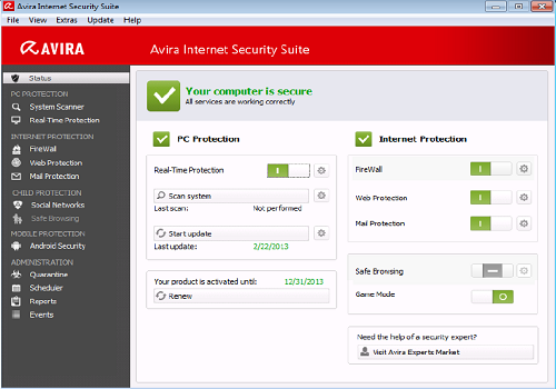 Capture d'écran Avira Internet Security 2016