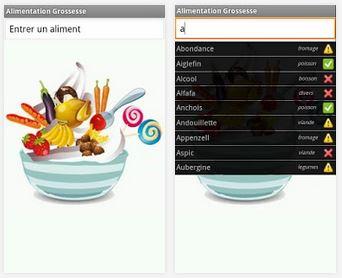 Capture d'écran Alimentation Grossesse Android