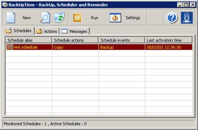 Capture d'écran BackUpTime