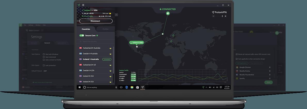 Capture d'écran ProtonVPN
