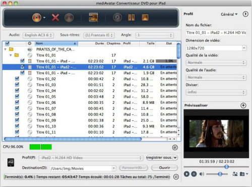 Capture d'écran mediAvatar Convertisseur DVD pour iPad