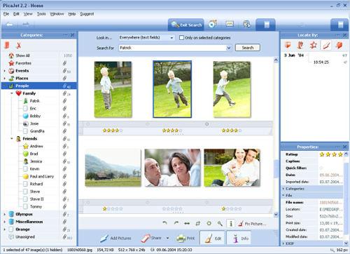 Capture d'écran PicaJet Photo Organizer