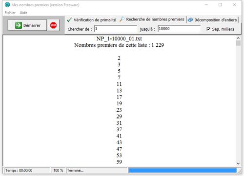 Capture d'écran Mes nombres premiers (MNP)