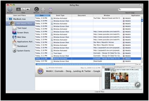 Capture d'écran REFOG Mac Keylogger