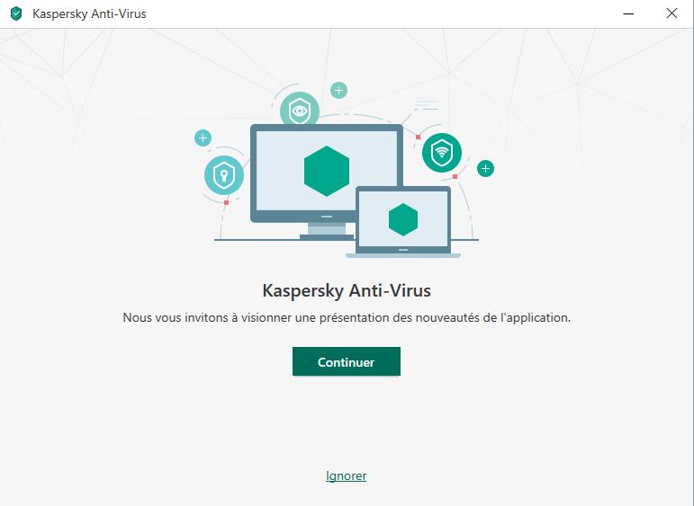 Capture d'écran Kaspersky Antivirus 2020