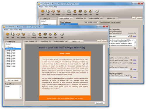 Capture d'écran AllWebMenus Web Modal Windows Addin