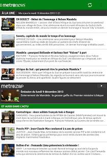 Capture d'écran Metronews pour smartphone