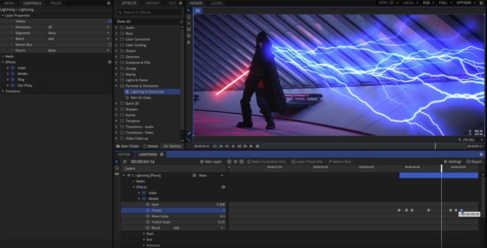 Capture d'écran Hitfilm Express Mac