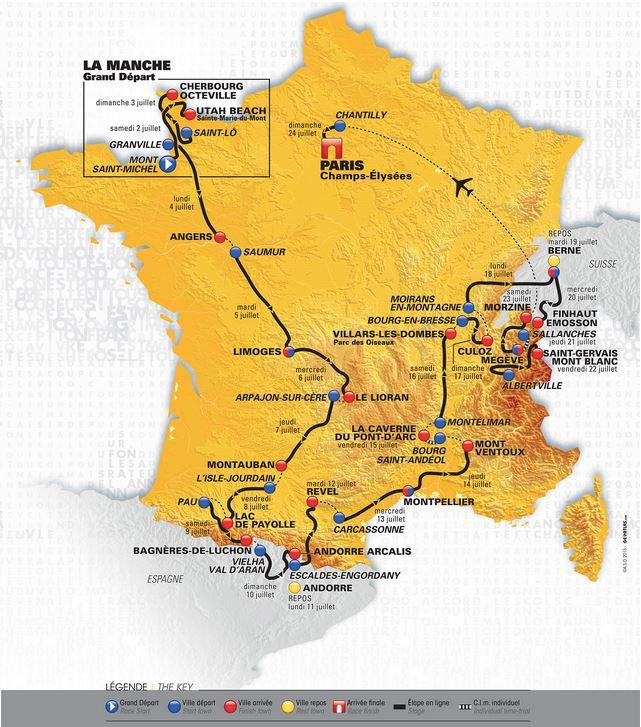Capture d'écran Parcours Tour de France 2016
