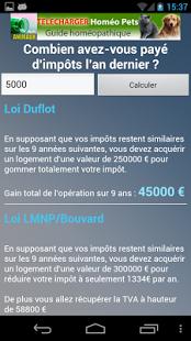Capture d'écran Simulation crédit impôts