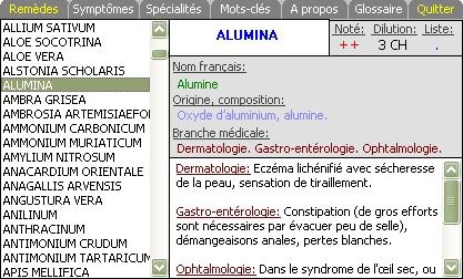 Capture d'écran Guide Informatique de l'Homéopathie