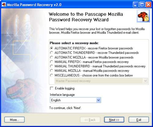 Capture d'écran Mozilla Password Recovery