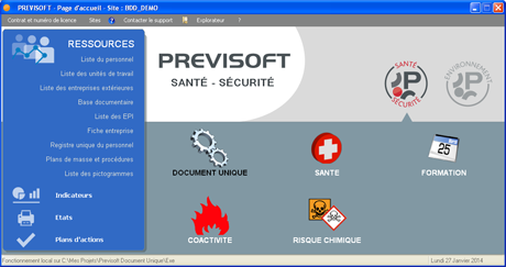 Capture d'écran PREVISOFT V6/2014