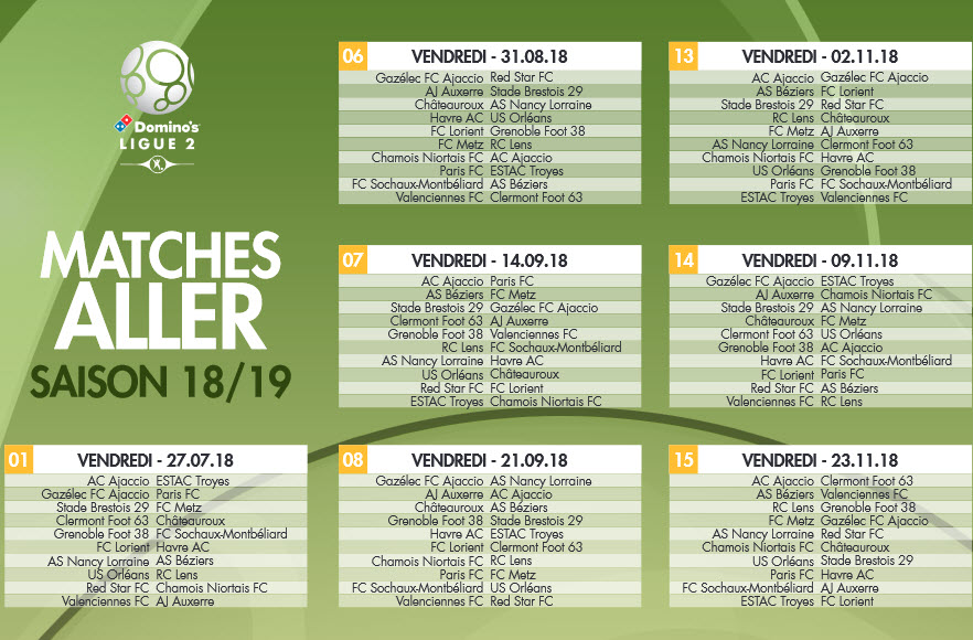 Capture d'écran Calendrier Ligue 2 2018 – 2019