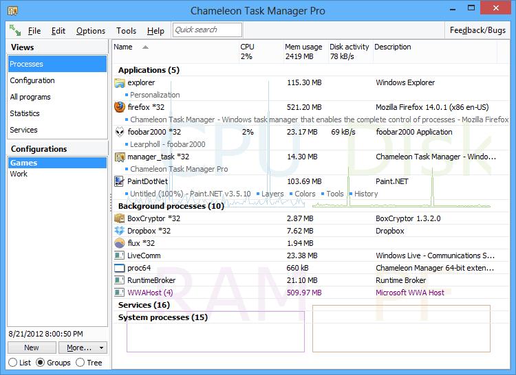 Capture d'écran Chameleon Task Manager
