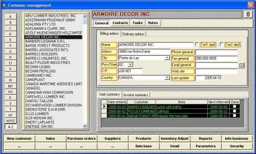 Capture d'écran MS Access Customer Template