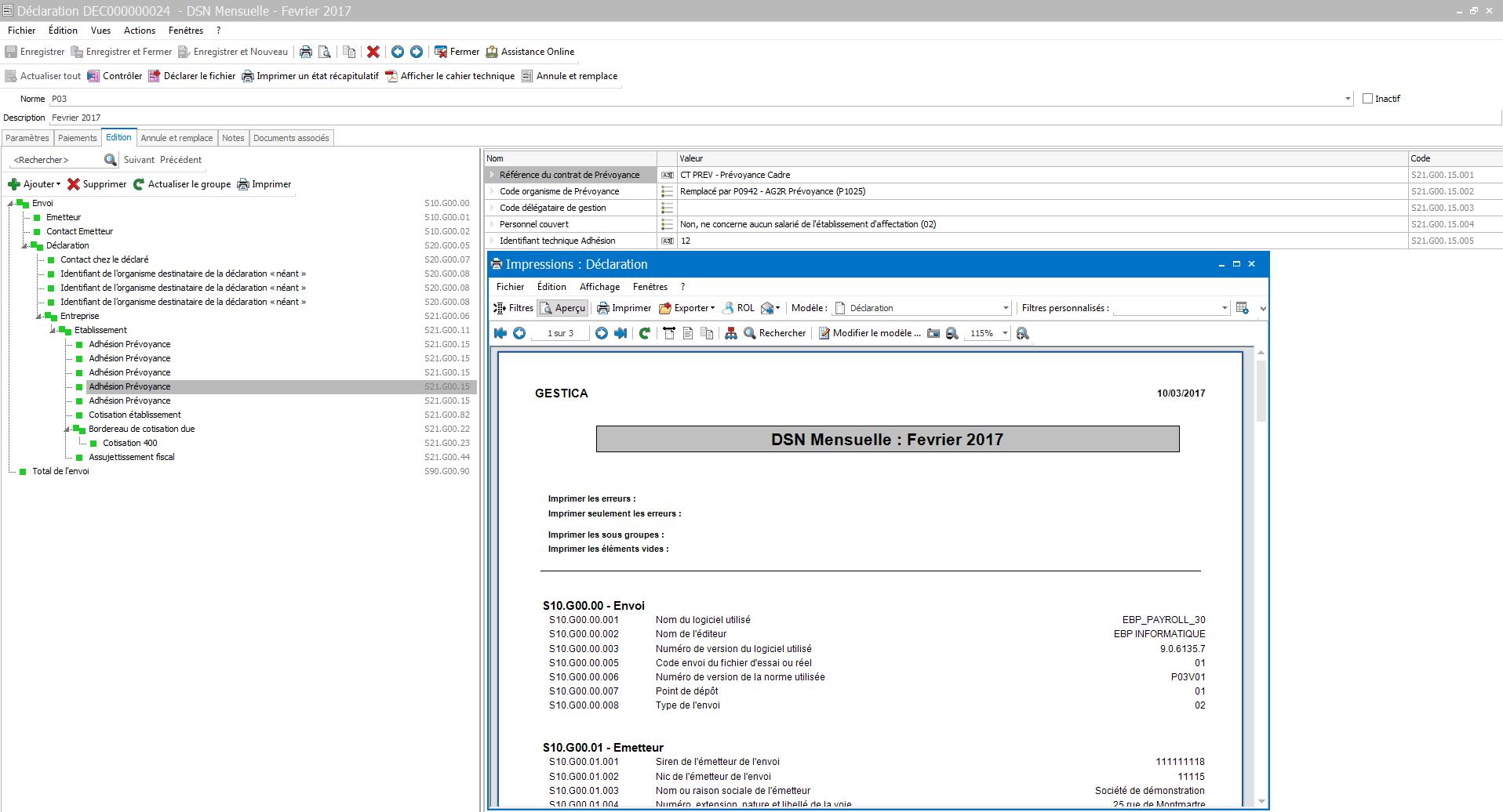 Capture d'écran EBP Paye Pro 2018
