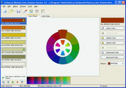 Capture d'écran CoffeeCup Website Color Schemer