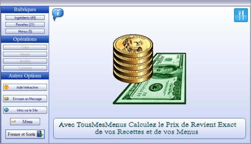 Capture d'écran TousMesMenus 1.0.0.162 2013