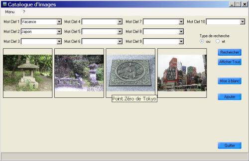 Capture d'écran Catalogue d'image