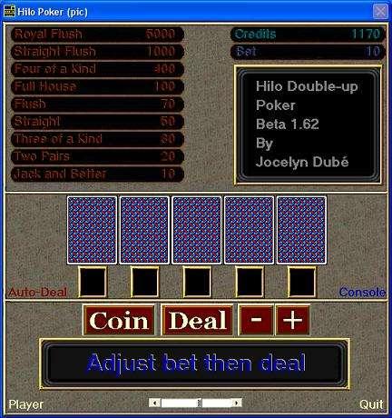Capture d'écran Hilo-Poker