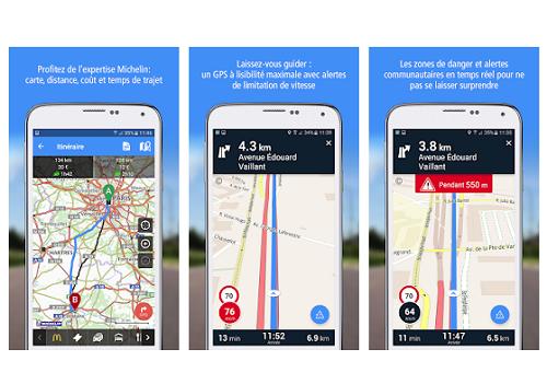 Capture d'écran ViaMichelin Android