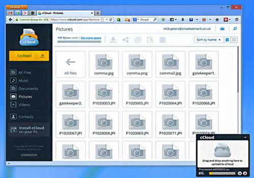 Capture d'écran Comodo Cloud