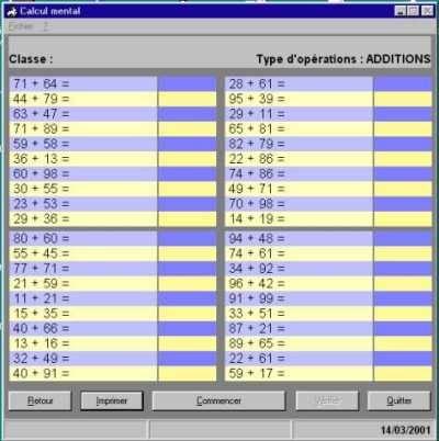 Capture d'écran Calcul mental