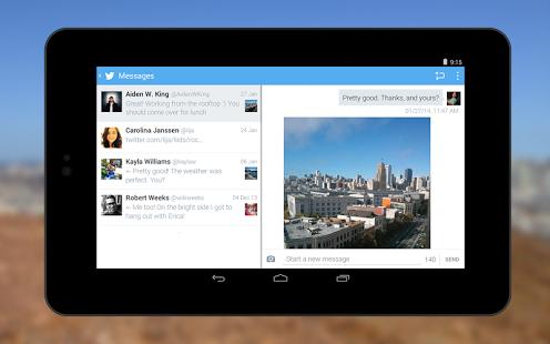 Capture d'écran Twitter Android