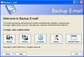 Capture d'écran Backup E-mail