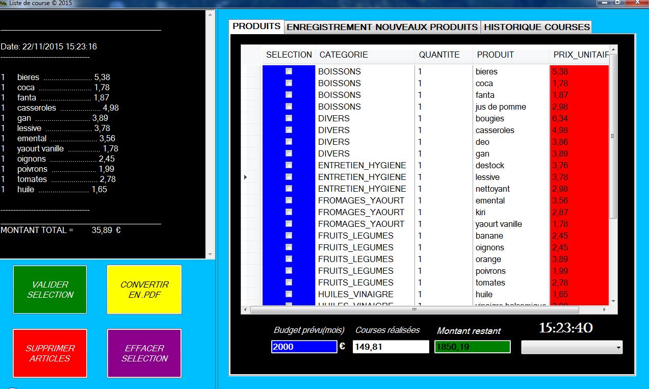 Capture d'écran liste de courses